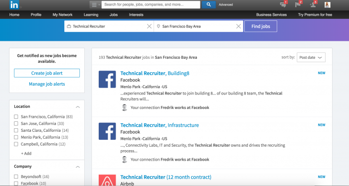 Quick search on LinkedIn shows 193 jobs available as Technical Recruiter in San Fransisco, USA.